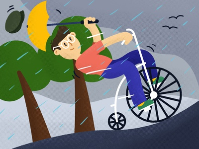 World Bicycle Day graphic design sport fit healthy beat tones netherlands weather umbrella bike cycling world bicycle day rain 2d office character illustration adobe illustrator