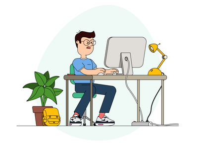 Wearying workdays graphic graphic designer office animation adobe illustrator 2d sneakers tired working markus course motion design work air max character illustration