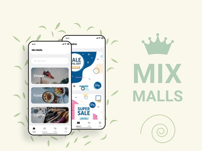 Mix Malls App I shopping advertisement ads design ads magazine flat ui ux minimal design