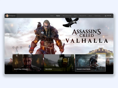 Xbox Play Anywhere - UI Concept microsoft videogames hellblade cyberpunk halo assassins creed xboxlive xbox one xbox adobexd web interface interface ux ui