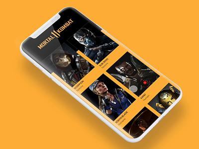 Mortal Kombat mortal kombat interface app animation invisionapp invision studio invisionstudio ux ui