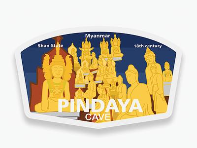 Pindaya Cave myanmar rebound vectordesign illustration