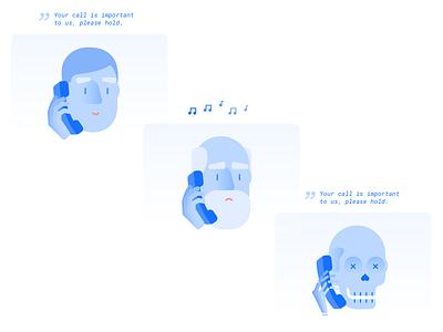 Hold On ux ui skeleton salemove robot phone light illustration customer experience call