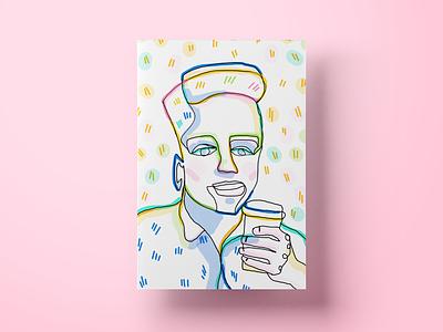 Karl really loves coffee ui burger blindtrace colors cx food gift illustration lineart portrait poster salemove