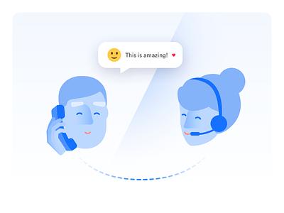 Social Phone Calls phone call comic web customerexperience chat love salemove illustration ui ux