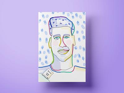 Justin design lineart gift portrait illustrations colors branding landing page web illustration customer experience ui cx ux salemove