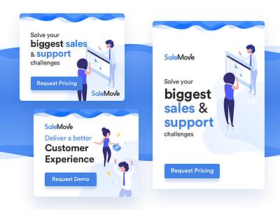 BOFU Display Ads marketing cards ads typography illustration customer experience cx salemove