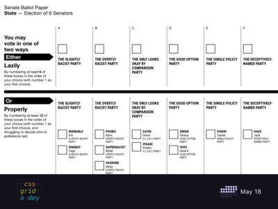 Senate ballot   CSS Grid May 18