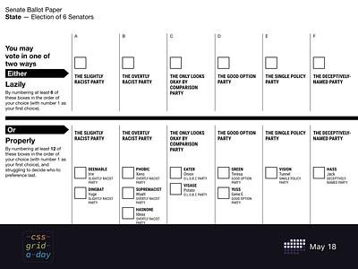 Senate ballot | CSS Grid May 18 css grid