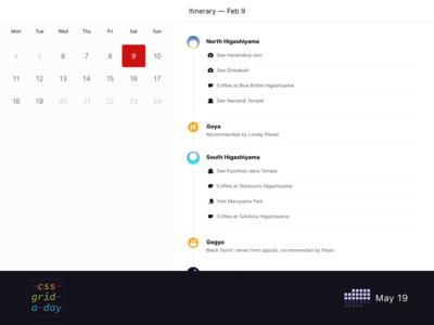 Itinerary Application   CSS Grid May 19