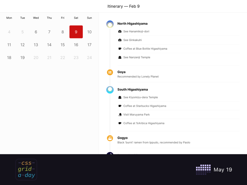 Itinerary Application | CSS Grid May 19 schedule travel application grid itinerary