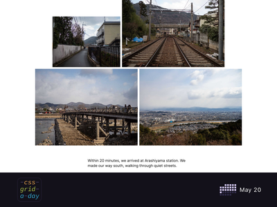 Photoessay Layout | CSS Grid May 20 photographer photoessay essay grid layout grid photography