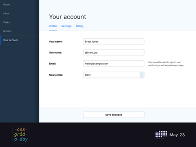 Responsive form grid | CSS Grid May 23 form fields fieldset input form dashboard grid