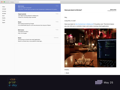 Email Client | CSS Grid May 25 css grid css email client email