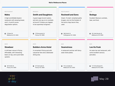 Melbourne Place Directory | CSS Grid May 29 cards tiles colours css grid