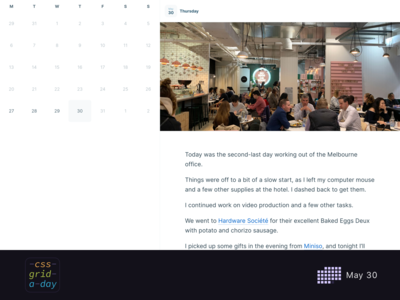 Journalling App | CSS Grid May 30