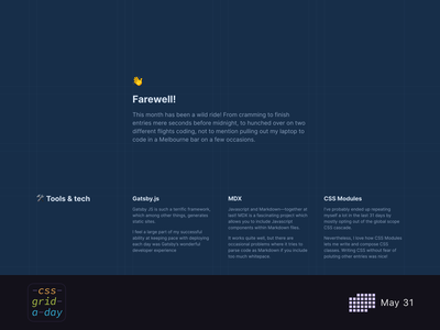 Farewell | CSS Grid May 31 design grid design layout grid