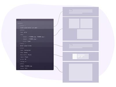 Page composition illustration design layout code illusration vector