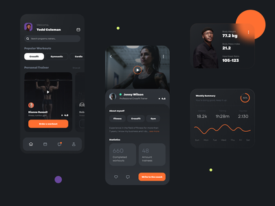 Fitness Mobile App ui ux design ui design ios trend cards sport plan simple detail page clean exercise training statistic dark mode fitness workout yoga app training app fitness app
