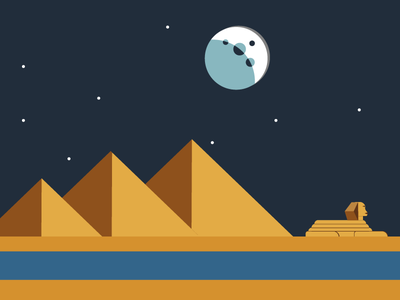 Pyramids of Giza by Night pyramids egypt illustration