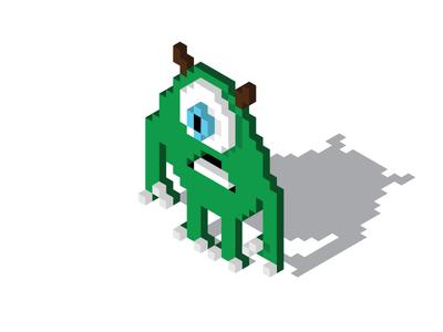 Mike Wazowski 8bitart pixar isometric illustration isometric design isometric pixelart pixel 8bitart 8bit mikewazowski monsters inc disney art disney flat  design simple illustration