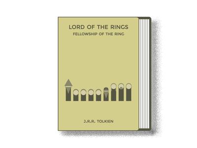 LOTR Fellowship of the Ring book cover monocromatic illustrator art illustrator cc flat illustration cover illustration coverart cover book art design lotr simple flat  design illustration
