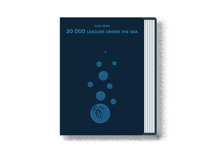 20.000 Leagues under the Sea minimal book cover minimalistic squid nautilus captain nemo book art 20000 leagues cover design cover art monocromatic flat  design illustration