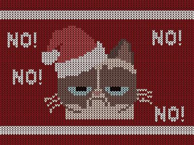 Grumpy Christmas simple flat  design knitting grumpy grumpy cat christmas knitted illustration
