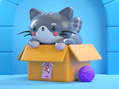 Kitty cute cat character characterdesign 3dcharacter 3dillustration 3d art vray 3dmodel 3d cinema4d c4d