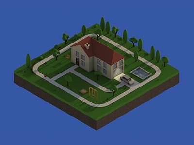 Isometric House house isometric c4d cinema4d