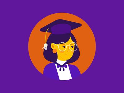 Tutor Illustration tution tutor maths college degree graduation women mobile onboarding app tech education design vector girl icon ui illustration