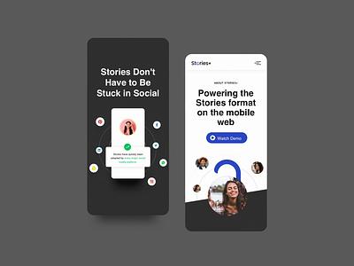 Storiesplus page landing app web design interaction ui website design website