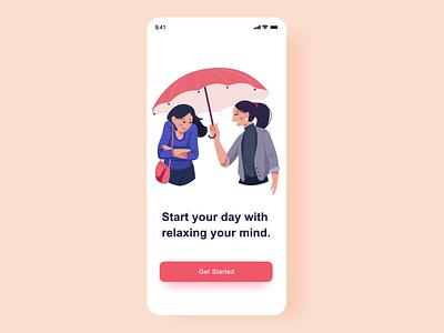 Splash Screen umbrella help girl onboarding illustration icon mobile splash