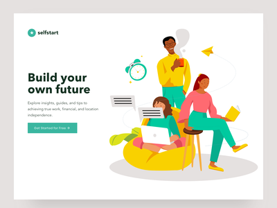 Landing page Illustration illustrations wfh work sofa coffee girl office illustration selfstart