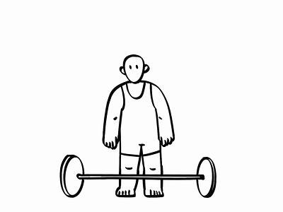 Hand drawn animation weightlifting animation design animation agency illustration