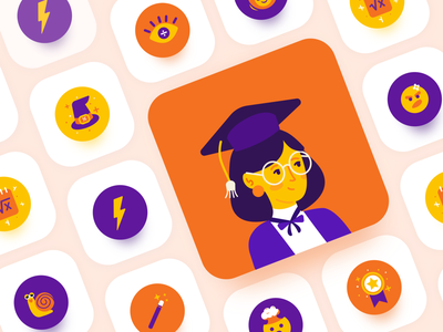 Icon design for easyA graduation icon maths success badge brain thunder fast snail