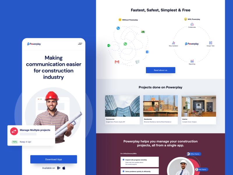 Powerplay landing page app website design mobile icon agency ui illustration