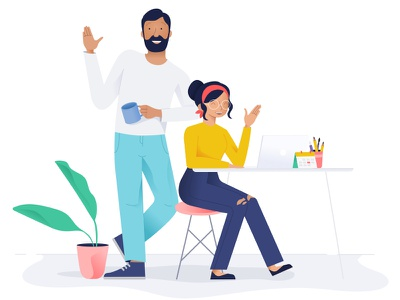Hello Dribbble team dribbble welcome debut leaf laptop office table plant illustration girl boy