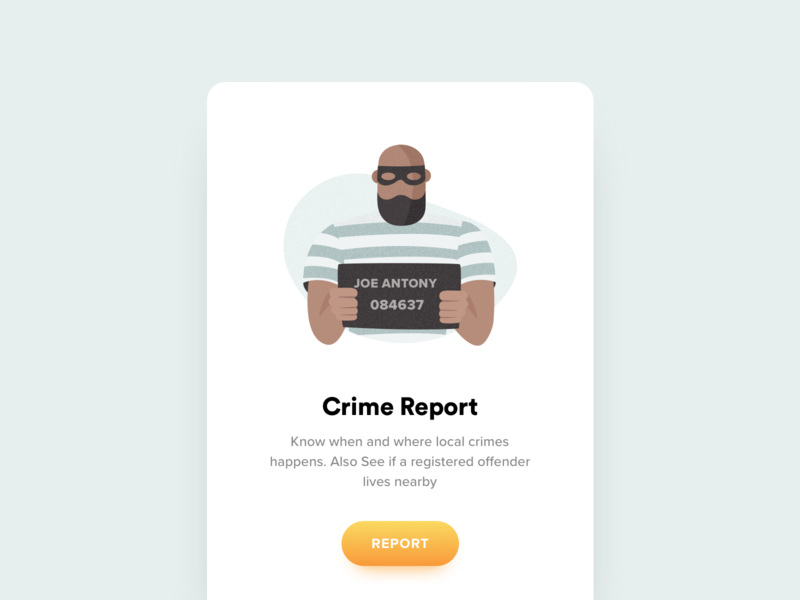 Crime Report icon app mobile ui icon man bad theif jail crime criminal office illustration