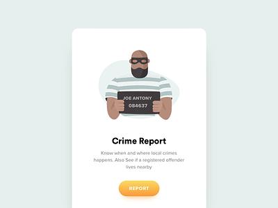 Crime Report icon app mobile ui icon man bad theif jail crime criminal office illustration