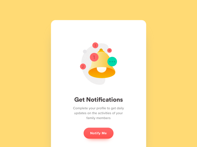 Notifications Screen landing app ui mobile illustration icon notifiation
