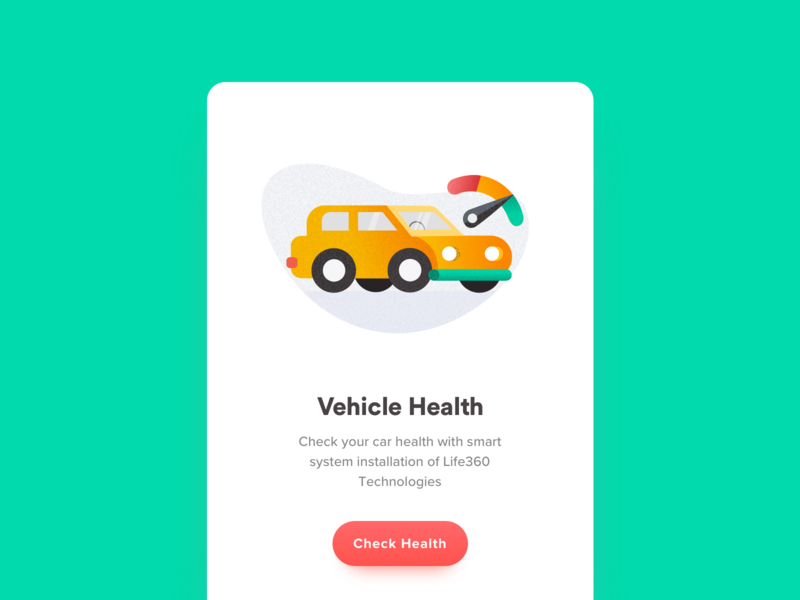 Vehicle Health meter dashboard car email icon agency ui illustration