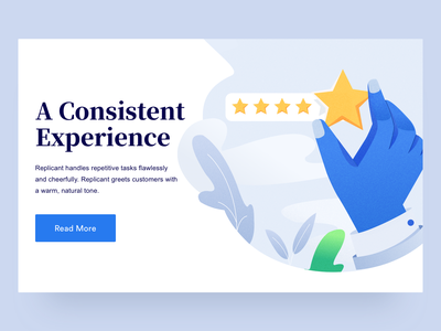 Consistent Experience intelligence artificial agency illustration uidesign ui plants hands star rating stars feedback