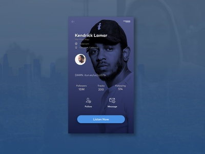Daily UI #006 006 music profile app ui daily