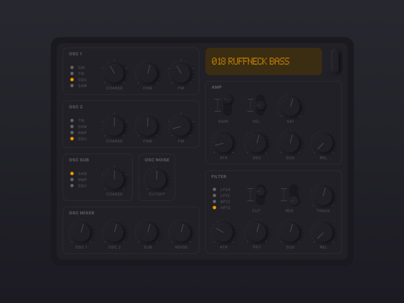 Simple VA synth with neumorphic UI neumorphism synth skeuomorphic neu-skeu