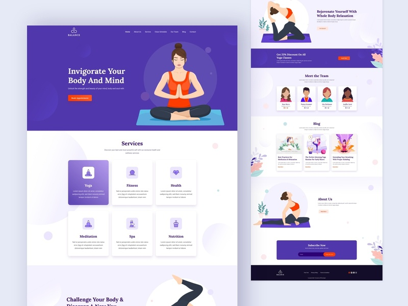 Balance Health & Wellness Template clean dailyui ux ui illustration landing page website yoga class website template. yoga trainer website relaxation center website health and wellness yoga