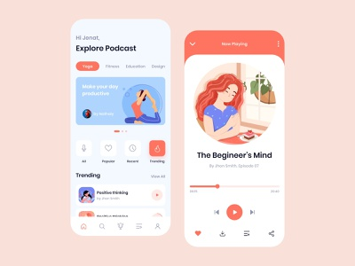 Podcast App Exploration broadcast streaming radio meditation playlist onboarding ios app mobile app clean ui minimal interface dashboard player interactive design creative uiux illustration audio app music app podcast