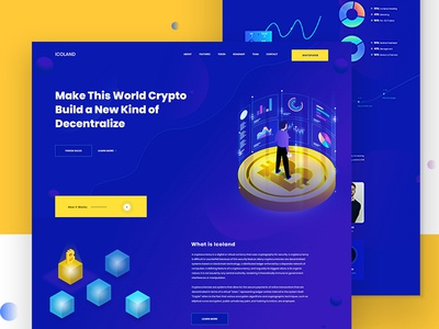 Icoland landing page | Cryptocurrency Explore cryptocurrency 2019 landing page concept webdesign icoland landing page ico ico agency bitcoin crypto currency app interaction dailyui uiux corporate design illustration website landing page ux ui