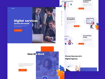 Digital Agency Landing Page illustration seo software copany startup agency digital agency admin dashboard app landing page app interaction webdesign dailyui uiux mobile ux website ui