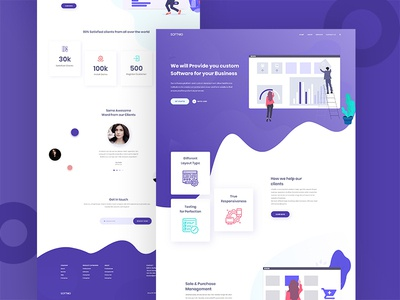 Software Company Landing Page typography logo gradient soft colors color clean illustration landing page webdesign illustration design uiux dailyui software software company software company landing page landing page ux ui website